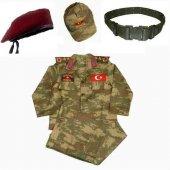 Bordo Bereli Erkek Çocuk Asker Komando Kıyafeti Kostüm