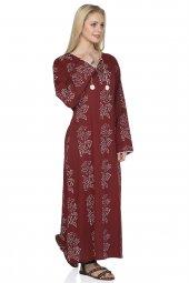 Uzun Kol Baskılı Elbise(Zambak Desen)