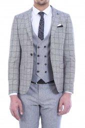 Ceket Ekose Pantolon Yelek Düz Gri Takım Elbise