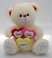 Seni Çok Seviyorum Yazılı, Kalpli, Hediyelik Pelüş Ayıcık 35cm