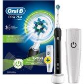 Oral B Pro 750 Şarj Edilebilir Diş Fırçası Cross Action Siyah (Seyahat Kabı Hediyeli)