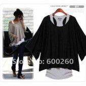 Japon Style Kadın Siyah Sporcu Bluz