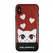Karl Lagerfeld Cat İphone X Kırmızı Kılıf