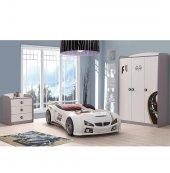 Farinay Mobilya Beyaz Gtı Bmw Beyaz Araba Yatak Karyolalı Granprıx Serisi Etiket Baskılı 4 Parça Çocuk Odası Takımı