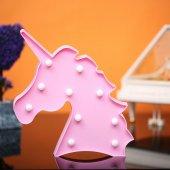 Unicorn Tasarımlı Pembe Renkli Ledli Gece Lambası