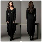 Japon Style Kadın Gri Koyu Şalvar Elbise