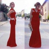 Kadın Askılı Uzun Kırmızı Abiye Elbise