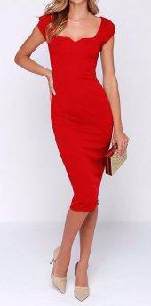 Kadın Kırmızı Abiye Kalem Elbise