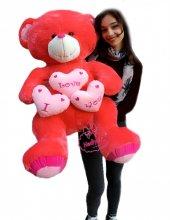 Oyuncak Kırmızı Peluş Ayı 100 Cm I Love You 3 Kalp Yastıklı