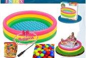 Intex 3 Boğumlu Şişme Havuz Oyun Topu Pompa Hediyeli Set
