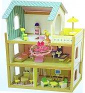 Mentari Eğitici Ahşap Mobilyalı 3 Katlı Teraslı Bebek Evi