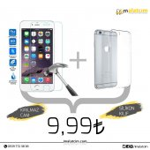 Kırılmaz Cam Ekran & Şeffaf İphone Kılıf 5 S , 6 S 6 Plus, 7