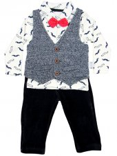 Pearly Baby Yelekli Kadife Pantolonlu Üçlü Takım 6 9 12 18 Ay