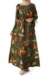 Haki Desenli Kuşaklı Elbise 2284