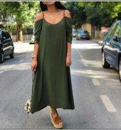 Kadın Dokuma Krep Haki Elbise
