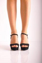 Bayan Abiye Topuklu Ayakkabı 124 Siyah Süet