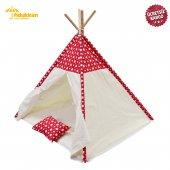 Fidukkan Çocuk Oyun Çadırı %100 Pamuklu Kumaş Ahşap İskelet Pencereli Kızılderili Oyun Çadırı Yıldızlı Kırmızı