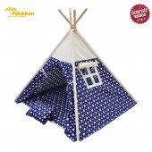 Fidukkan Çocuk Oyun Çadırı %100 Pamuklu Kumaş Ahşap İskelet Pencereli Kızılderili Oyun Çadırı Mavi