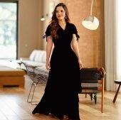 Kadın Kol Bağlı Siyah Uzun Elbise