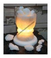 Klasik Tuz Çanağı Şekilli Tuz Lambası (Beyaz Parça Tuzlu)