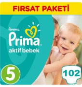 Prima Bebek Bezi No 5 Beden (11 18 Kg) 102 Adet Fırsat Paketi