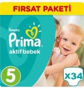 Prima Bebek Bezi No 5 Beden (11 18 Kg) 34 Adet Fırsat Paketi