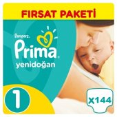Prima Yenidoğan Bebek Bezi No 1 Beden (144 Adet) Fırsat Paketi