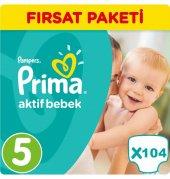 Prima Bebek Bezi No 5 Beden (11 18 Kg) 104 Adet Fırsat Paketi