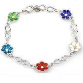 çiçek Bahçesi Mineli Gümüş Bileklik Sb28000