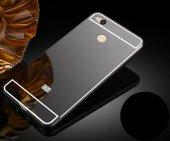 Xiaomi Redmi 4x Kılıf Aynalı Kenarları Metal Kapak Siyah + Kırılmaz Cam Ekran Koruyucu