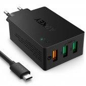 Aukey Pa T14 3 Port 42w Qc 3.0 D.ş.cihazı Ve 1mt Micro Usb Kablo