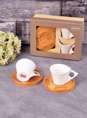 Bayev 2 Li Bambu Tabaklı Porselen Kahve Fincanı 100851