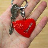 Sevgiliye Hediye İsme Özel Kalp Kırmızı Metal Anahtarlık