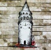 Sallanır Sarkaçlı Galata Kulesi Ve Tramvay Dekoratif Duvar Saati