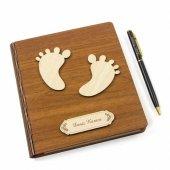 Sevgiliye Hediye İsme Özel Bebek Ayağı Ahşap Not Defteri Kalem