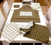 Kahverengi Mutfak Önlüğü,havlu,tutacak,runner,ekmeklik 5li Set