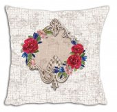 Mrs Pillow Andrea D 19 Desenli Kırlent Kılıfı 70x70cm Ebadında