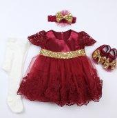 Pugi Bgo6 Koyu Bordo Bebek Özel Gün Elbisesi