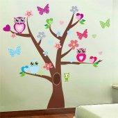 Baykuş Kelebek Ağaç Duvar Resmi Xl Ev Anaokulu Dekor Çıkartması S