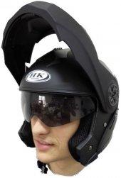 Duble Vizör Çene Açılık Mat Siyah Motor Kask Motosiklet Kaskı