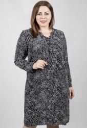 Uzunkollu Damla Desenli Maroken Elbise