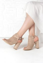 Maria Vizon Süet Fileli Kemerli Topuklu Bayan Ayakkabı