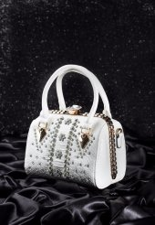 Sfk Beyaz Desenli Dore Detaylı Bayan Taş Aksesuarlı Çanta