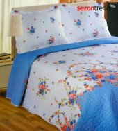 Kristal Fulya Çift Kişilik Yatak Örtüsü Mavi