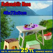 Pratik Katlanabilir Piknik Masası 48x72x5cm Ebatında Şık Tasarım