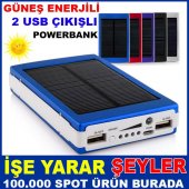 Güneş Enerjili Smart Power Bank Çift Usb