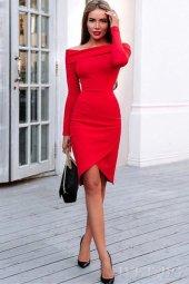 Japon Style Kadın Omuz Detay Kırmızı Elbise