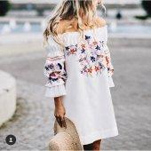 Kadın Nakışlı Krinkil Elbise