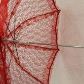 Kırmızı Dantel Gelin Şemsiyesi