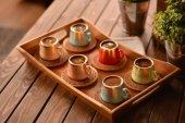 Rainbow 6 Kişilik Kahve Takımı Desen Altlıklı